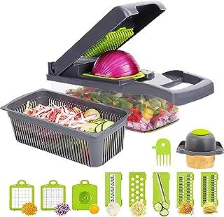 Mandoline Cuisine Multifonction, Trancheur de Légumes,8 Lames Différentes Couteau Amovibles pour aubergine, concombre,cour...