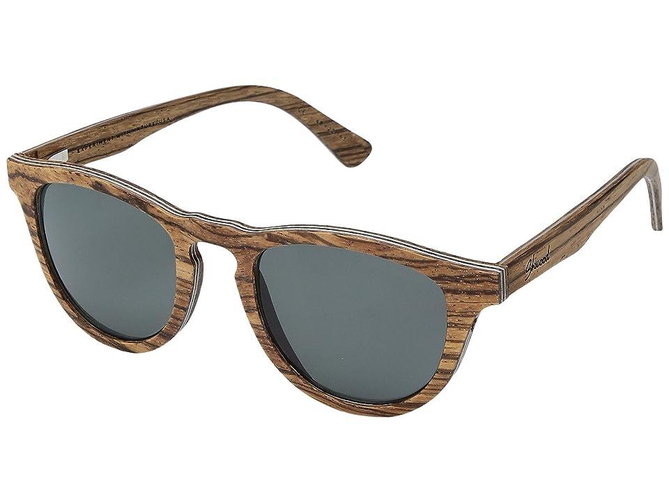 Shwood Francis Wood Sunglasses Polarized (Zebrawood/Grey Polarized) Polarized Sport Sunglasses