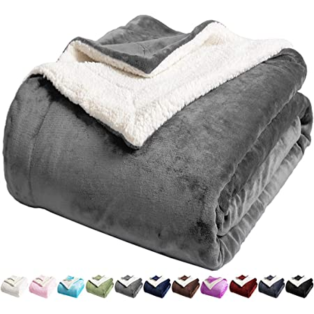 Brown, 90x90 LIANLAM Sherpa Fleece Blanket Queen Size Dual Sided Blanket Super Soft and Warm Fuzzy Plush Cozy Luxury Bed Blankets Microfiber