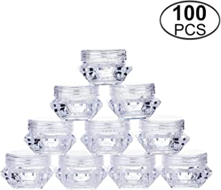 TMO 5 Gram Clear Jars Plastic Jars Plastic Cosmetic Container Empty Cosmetic Sample Containers Transparent 5G/5ML Plastic Pot Jars for Eye Shadow,Nails,Powder,Paint (100 Pcs)