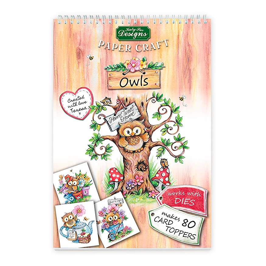 Owls Paper Craft Pads, Card Making Kit, Makes 80 Card Toppers, Works with Dies by Teresa Goodridge