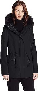 black fur trimmed coat