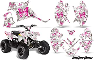AMRRACING Polaris Outlaw 90 All Years Full Custom ATV Graphics Decal Kit - Skulls and Butterflies Pink White