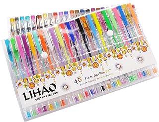 LIHAO 48 Plumas Gel Colores Bolígrafos de Tinta Gel Ink Pen Set