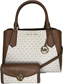Large Kimberly EW Satchel bundled with Fulton Flap Continental Wallet (Signature MK Vanilla/Brown)