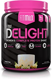 FitMiss Delight Protein Powder, Healthy Nutritional Shake for Women, Whey Protein, Fruits, Vegetables and Digestive Enzymes, Support Weight Loss and Lean Muscle Mass, Vanilla Chai, 1.2 Pound