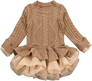 Glaiidy Suéter De Punto para Niñas Jersey De Invierno Croche Tutoiseshell Ropa Jersey Jack Winte Puff Falda Ropa