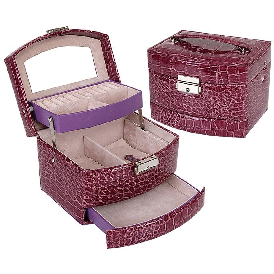 男やもめフェンス物理的な美容メイクケースをプロフェッショナルネイルジュエリー化粧品バニティケース旅行家の使用(ワニパターン、紫色)