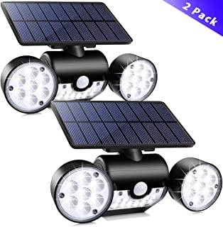 Outdoor Solar Lights,YUJENY 30 LEDSolar Security Light with Motion Sensor Dual Head Spotlights IP65 Waterproof 360° Adjustable Solar Motion Lights Outdoor for Front Door Yard Garde(2 Pack)