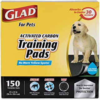 Glad for Pets Black Charcoal Puppy Pads | Puppy Potty Training Pads That ABSORB & NEUTRALIZE Urine Instantly | New & Impro...