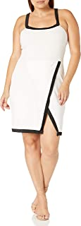 Star Vixen Women's Plus-Size Sleeveless Outlined Halter/Sexy Foldover Wrap Skirt Stretch Dress