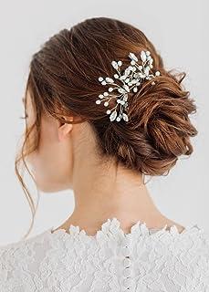 Kercisbeauty - Juego de 2 horquillas para novia, diseño de flor de dama de honor, color verde menta y cristales decorativos