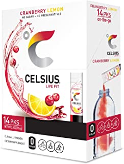 CELSIUS Cranberry Lemon On-the-Go Powder Stick Packs, Zero Sugar (14 Sticks per Pack)