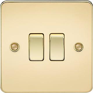 Knightsbridge FP3000PB FPAV3000PB Flat Plate 10A 2G 2 Way Switch-Polished Brass