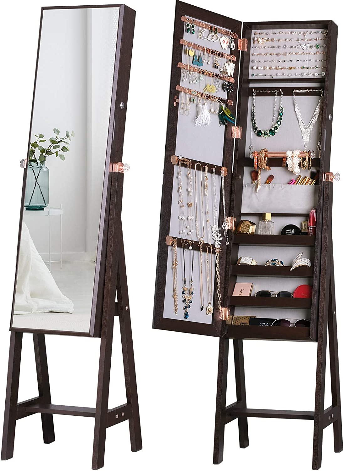 LUXFURNI Jewelry Armoire Standing Full-Length Mirror Makeup Lockable Cabinet , Large Cosmetic Storage Organizer Wall/ Door-Hanging (Brown) : Clothing, Shoes & Jewelry