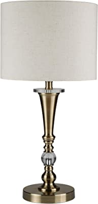 Searchlight Drum Table Light Antique Brass Cream Traditional Table Lamp 1011AB
