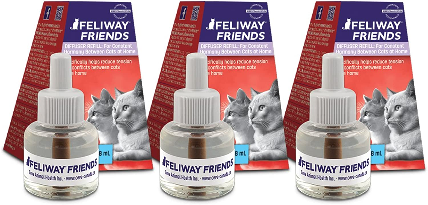 FELIWAY Friends Diffuser Refill, 3Pack (FELIWAY MultiCat Refill)  Specifically Helps Reduce Fighting, Tension & Conflicts Between Cats in The Home  (90 Day Supply)