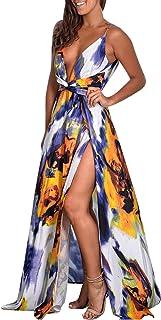 Ladies Summer Floral Print Sling V-neck Flower Dress Split Long Skirt Sleeveless Maxi Boho Cocktail Party Beach Dress