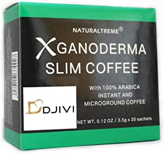 Dodjivi Ganoderma Slim Coffee & Detox 100% Arabica Black Premium Instant Coffee - (1 Box of 30 Sachets)