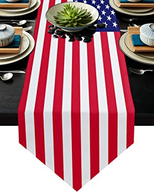 Cotton Linen Table Runner Stars and Stripes America Flag Patriotic 18x72 Inch Burlap Table Runners for Dining Table Farmhouse