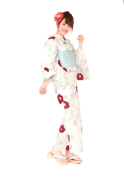 レディース浴衣セット[浴衣/半幅帯] bonheur saisons (ボヌールセゾン) 白 クリームホワイト ピンク 椿 ツバキ 綿 紅梅 ラメ 夏祭り 花火大会 仕立て上がり フリーサイズ