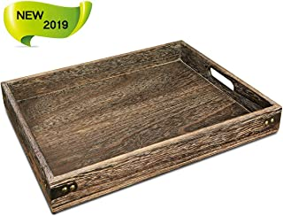 Sufandly Large Wooden Serving Tray with Handles, Rectangle Breakfast Tray 15.7 x 11.8 Inch Wood Color