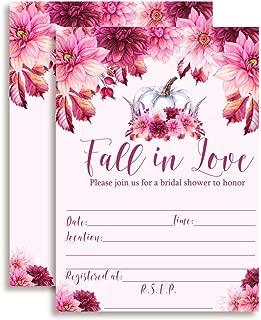 Fall in Love Pink Pumpkin & Dahlia Bridal Shower Invitations, 20 5