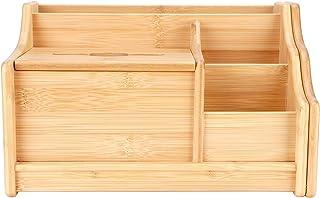 Cikonielf Boîte de Rangement Plusieurs Compartiments Extensible en Bambou Organisateur de Bureau boîte à mouchoirs étagère...