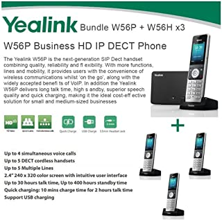 Yealink W56P + W56H X3 Cordless VoIP Phone PoE HD Voice and Base Unit USB Charge