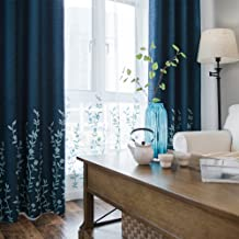 Melodieux Flower Embroidery Faux Linen Blackout Curtains for Living Room Bedroom Noise-Free Grommet Window Drape, Navy/Blue, 52 by 84 Inch (1 Panel)
