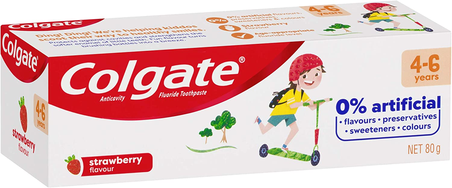 Colgate Kids Toothpaste 4-6 Years Strawberry Flavour Anticavity Fluoride Children's Tooth paste No Artificial Flavours Preservatives Sweetners or Colours 80g