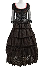 858aac656 VOSTE Mrs. Lovett Costume Halloween Cosplay Party Black Classic Lolita Dress