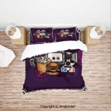 SCOCICI Cartoon Like Cinema Image Burgers Popcorns Glasses Art Print Lightweight Bedding 4 Piece Duvet Cover Set 4 Pcs Set (1 Duvet Cover, 1 Bed Sheet, 2 Pillowcases) Bedding Sets
