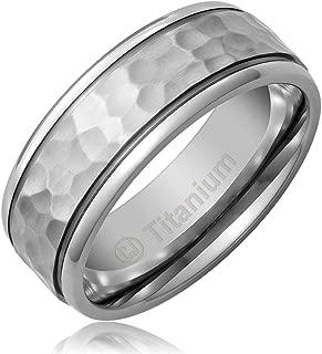 8MM Men's Titanium Ring Wedding Band | Hammered Finish