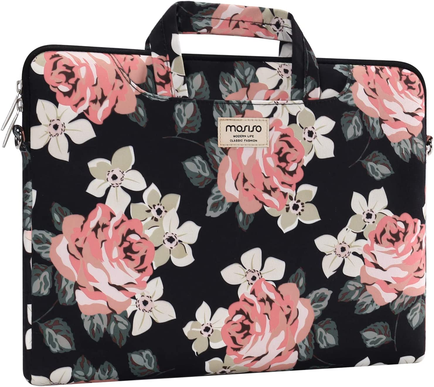Rose Carrying Briefcase Sleeve Case with Trolley Belt MOSISO Laptop Shoulder Bag Compatible with MacBook Pro//Air 13 inch 13-13.3 inch Notebook Computer
