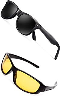 TheWhoop Combo New Black Rectangular And Night Vision Sunglasses For Men And Women