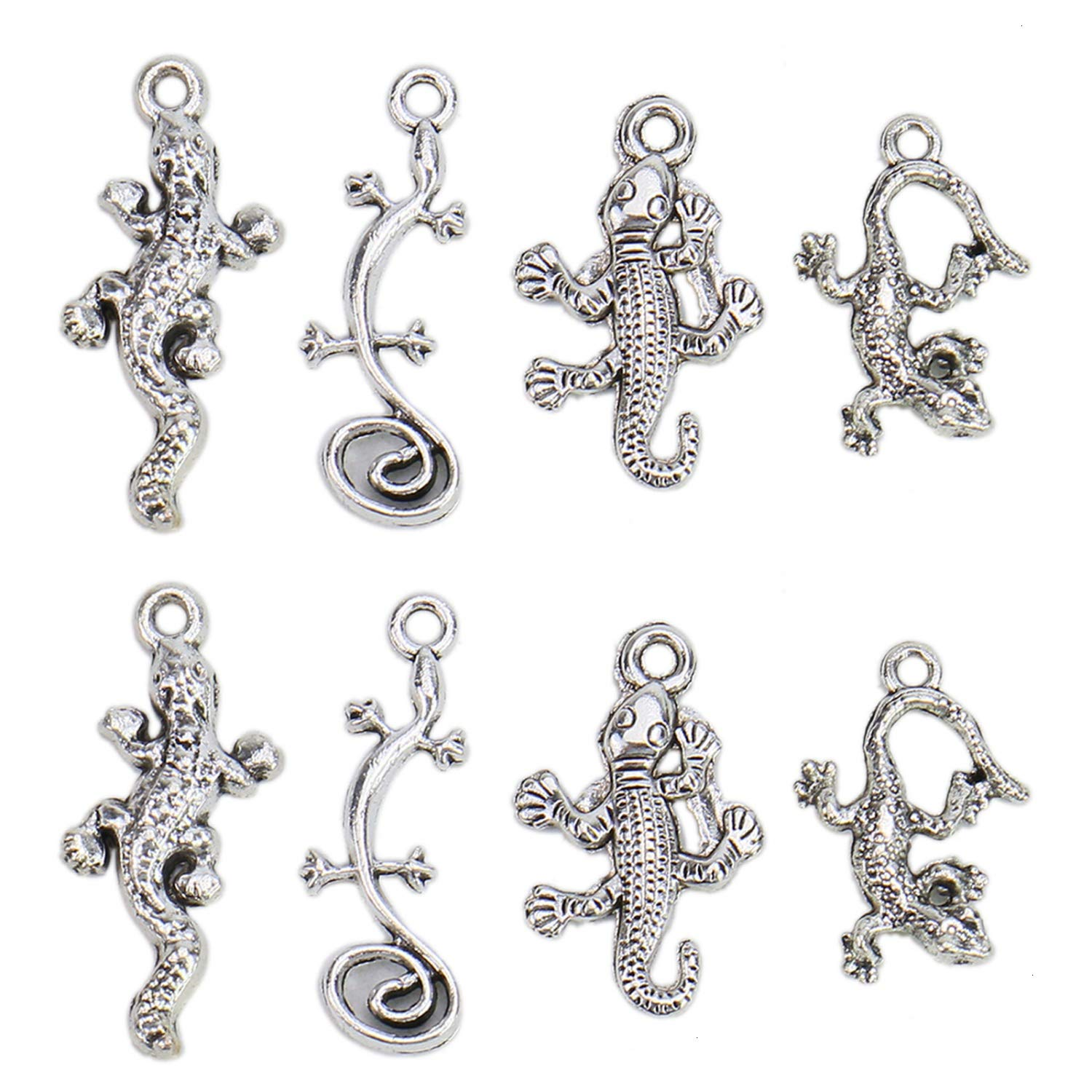 Monrocco 16 Pcs 4 Styles Antique Silver Animal Lizard Gecko Charms - Zinc Alloy Desert Theme Animal Charms Pendants Jewelry Findings Making Accessory