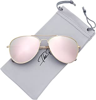 The Fresh Classic Metal Frame Mirror Lens Aviator Sunglasses with Gift Box