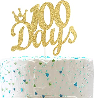 100 Days with Crown Cake Topper,Baby's Happy 100 Days Sign.100 Days Celebration Party Decorations( Double Sided Gold Glitter )