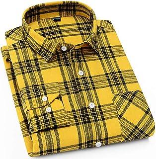 DOKKIA Men`s Dress Buffalo Plaid Checkered Fitted Long Sleeve Flannel Shirt Jacket