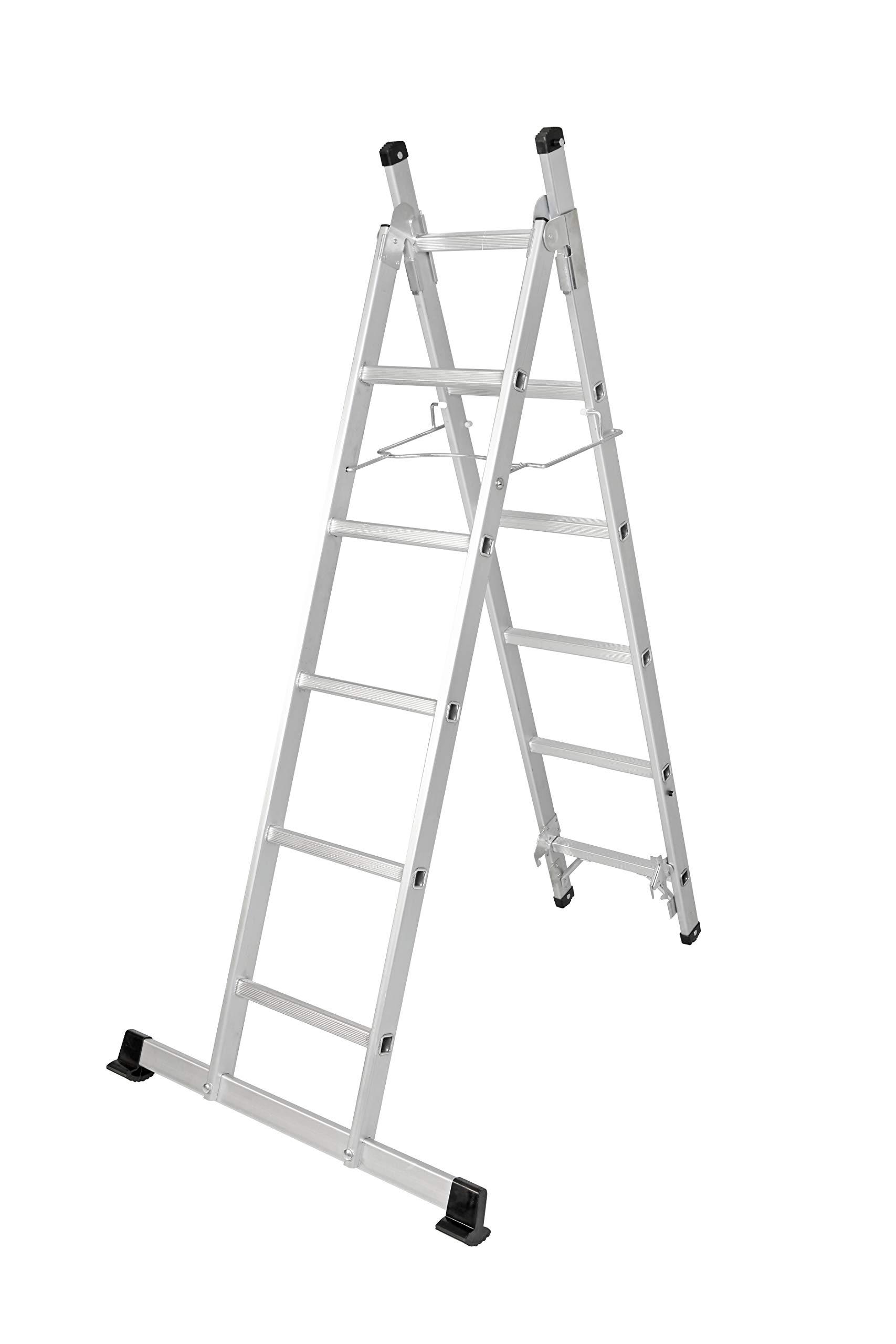 Escalera de aluminio 3 en 1, escalera de 3 escalones, plegable, 11 niveles, extensible hasta 250 cm: Amazon.es: Bricolaje y herramientas