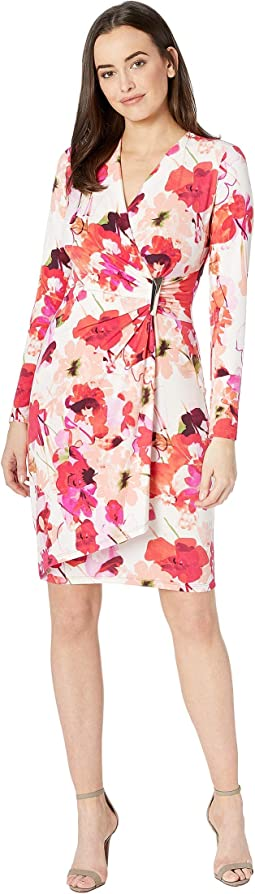 Floral Print Faux Wrap Dress with Hardware Side Tab CD8AB32R