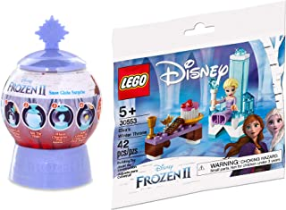 LEGO Snow & Frozen 2 Pack Elsa's Winter Throne 30553 Princess Pack Bundled with Magic Surprise Globe Reveal Toy 2 Items
