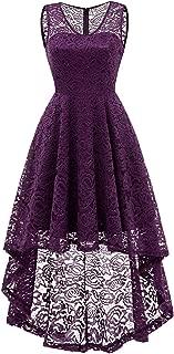 Women's Vintage Dress V-Neck Floral Lace Hi-Lo Cocktail Party Dress