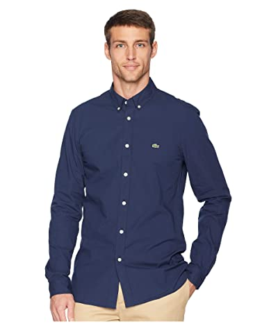 Lacoste Long Sleeve Solid Poplin Stretch Button Down Collar Slim (Navy Blue) Men