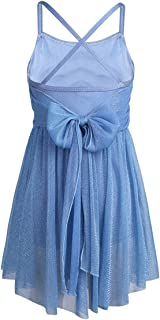 Feeshow Kids Girls Lyrical Glitter Ballet Latin Dance Gymnastics Leotard Dress Camisole Knee-Length Skirt