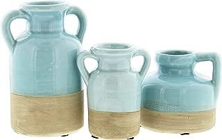 The Bridge Collection Decorative Blue Ceramic Jug Vase, Set of 3 Assorted
