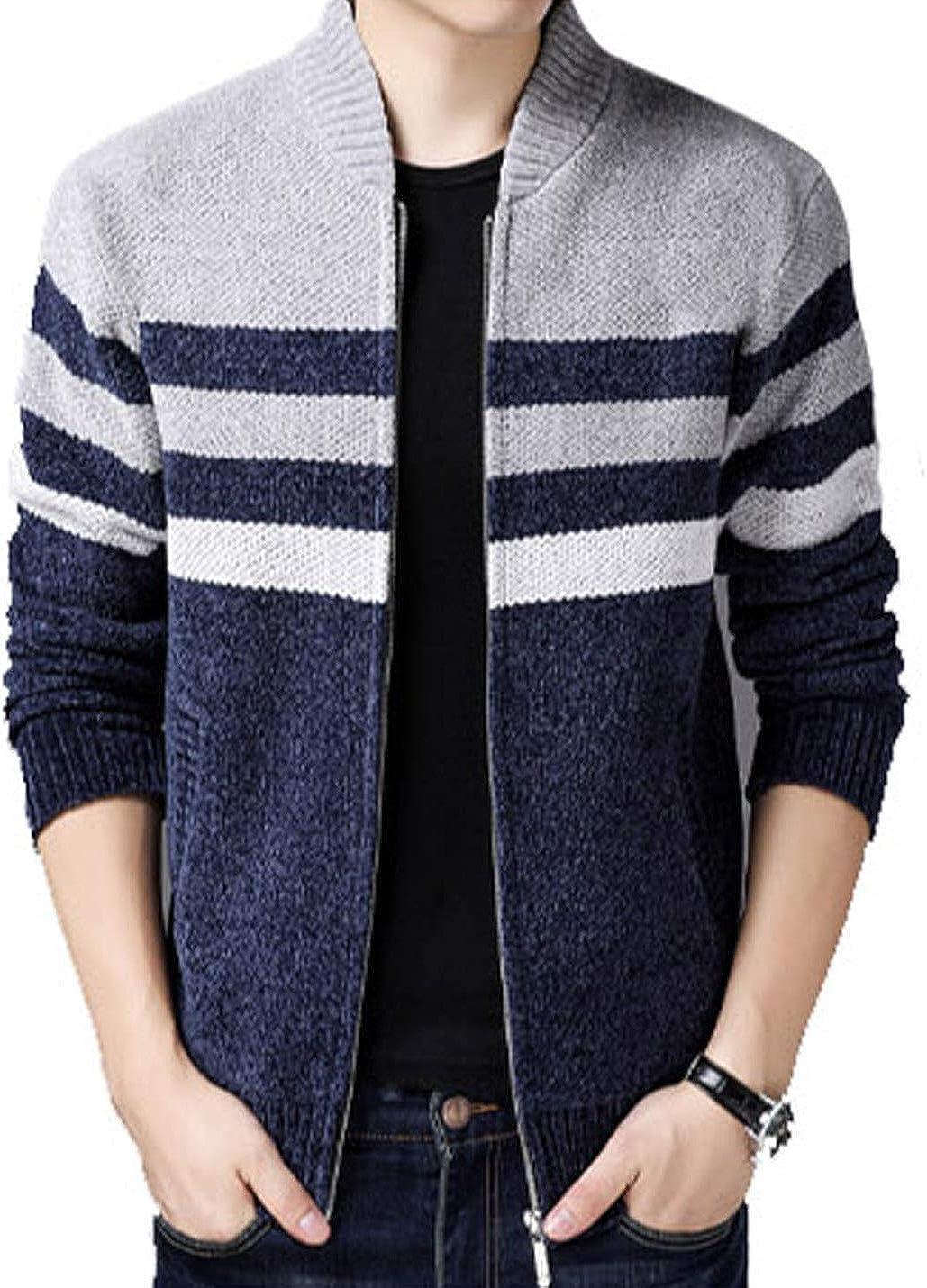 Yeokou Men's Autumn Fashion Casual Wide Stripes Zipper Knitted Cardigan Sweater