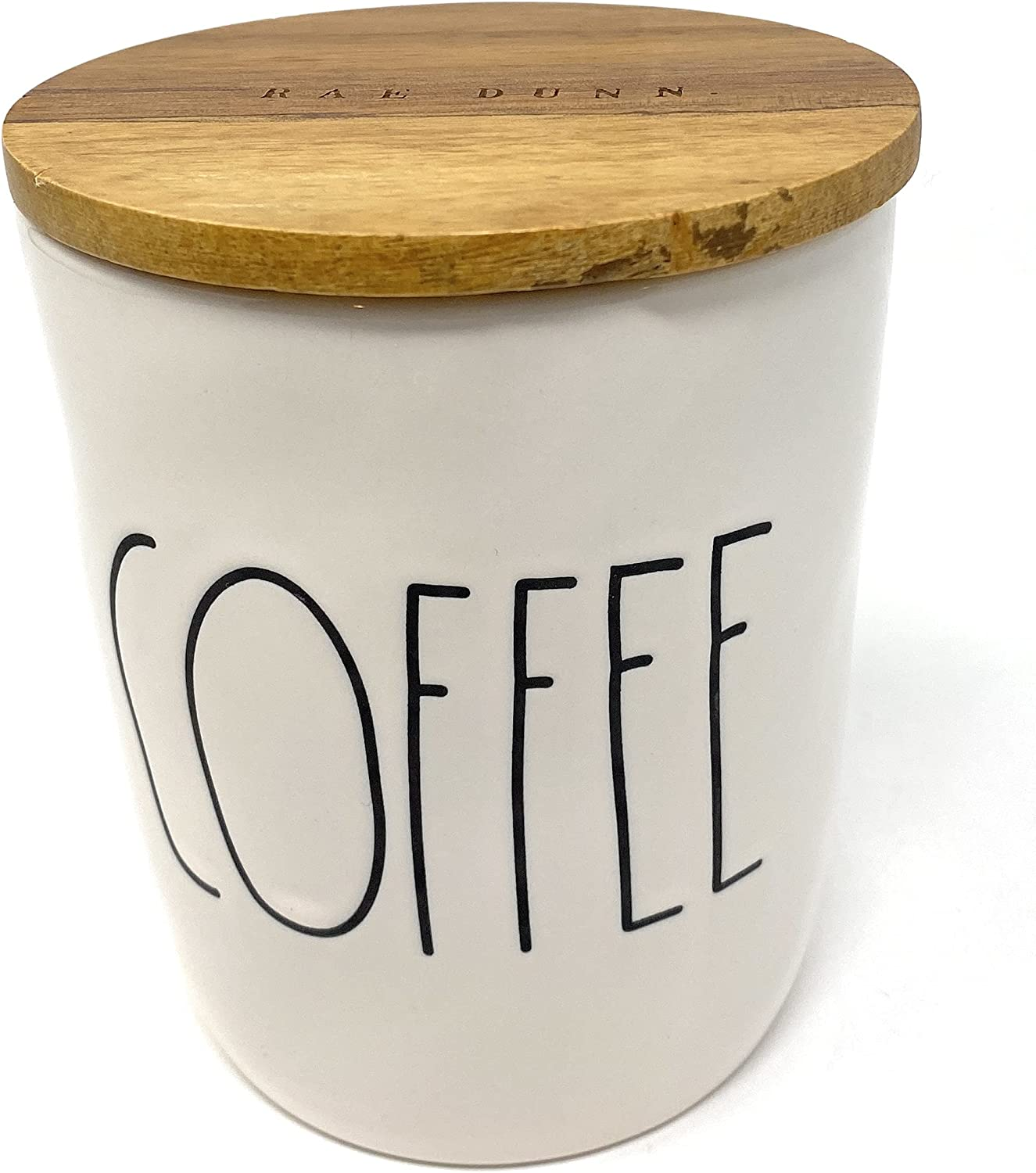 Rae Dunn COFFEE White Ceramic Canister with Wood Lid