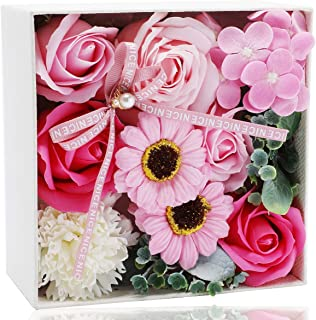 ソープフラワー 石鹸花 フレグランス フラワー シャボンフラワー (敬老の日 母の日 記念日 卒業 結婚祝い ギフト など最適のプレゼント 創意方形ギフト 枯れない花束 ボックスバ メッセージカード付)(ピンク)